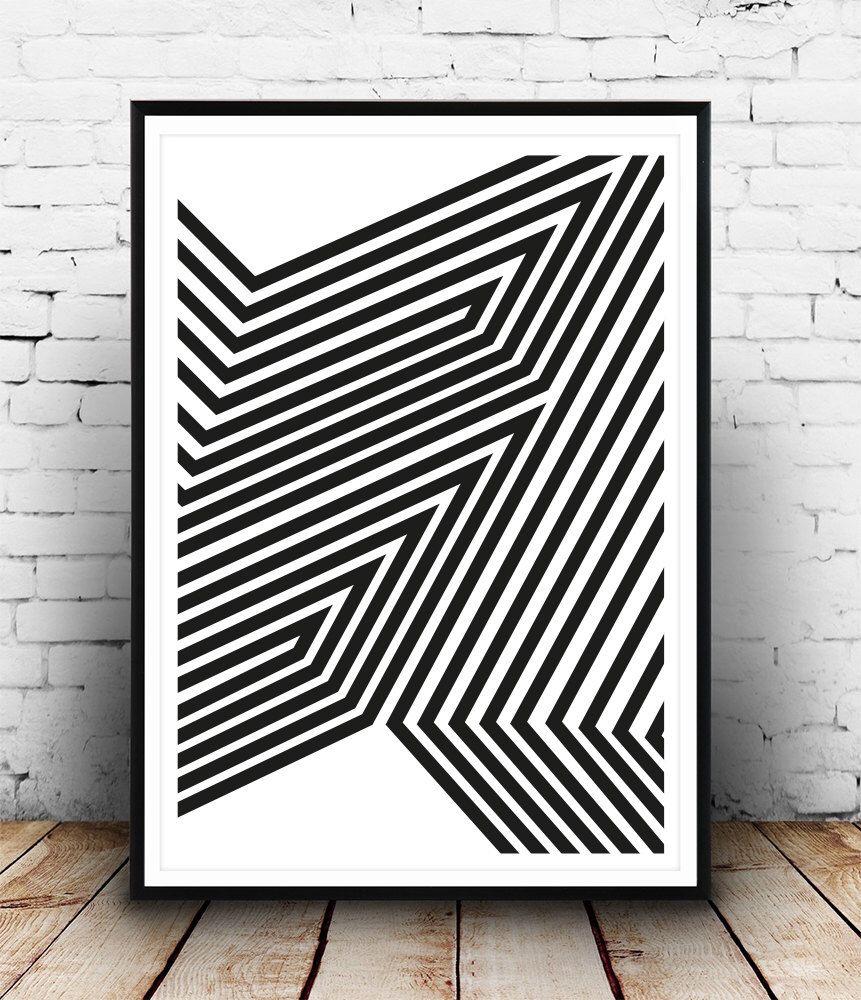 Straight Line Modern Art : Black and white art abstract print modern poster