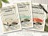 Retirement Party Invitation Thunderbird Ford T-Bird Vintage Classic Car Illustra…