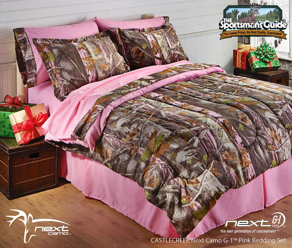 Pink Realtree Bed Next Camo Bedding From CastleCreek Now - Black and grey camouflage comforter set