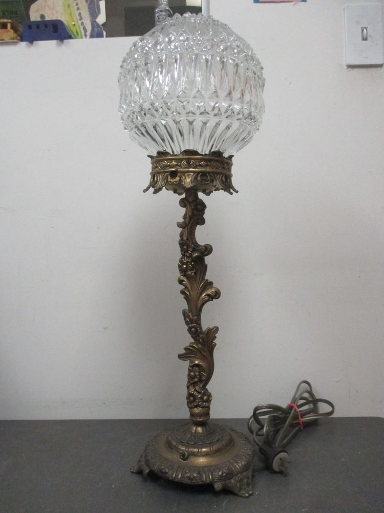 Vintage Ornate Cast Metal Footed Table Lamp With Glass Globe Lamp Table Lamp Glass Globe