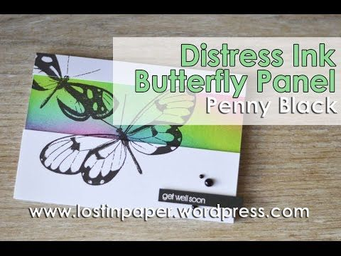 Distress Ink Penny Black Butterfly Panel - The MISTI makes it easy! - YouTube