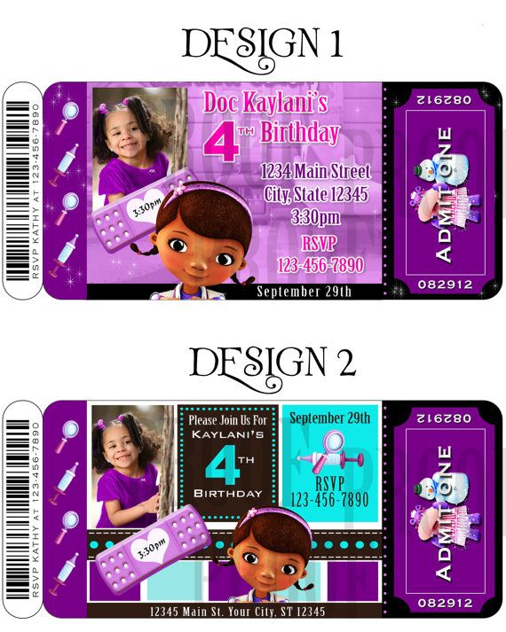 Doc Mcstuffins 4th Birthday Invitations