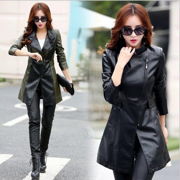 30e874990212a Oblique Zipper Leather Jacket Women Spring Plus Size 3XL 4XL 5XL Slim Faux  Pu Outerwear Long Women Leather Trench Coat Female
