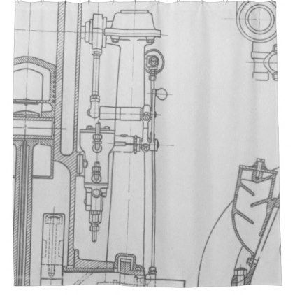 Schematic Drawing Old blueprint rustic colors soft Shower Curtain - new old blueprint art