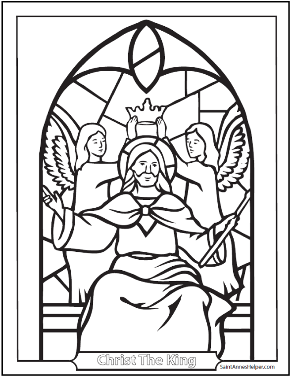 stained glass coloring pages church windows jesus christ king of all nations may he reign in our hearts 500