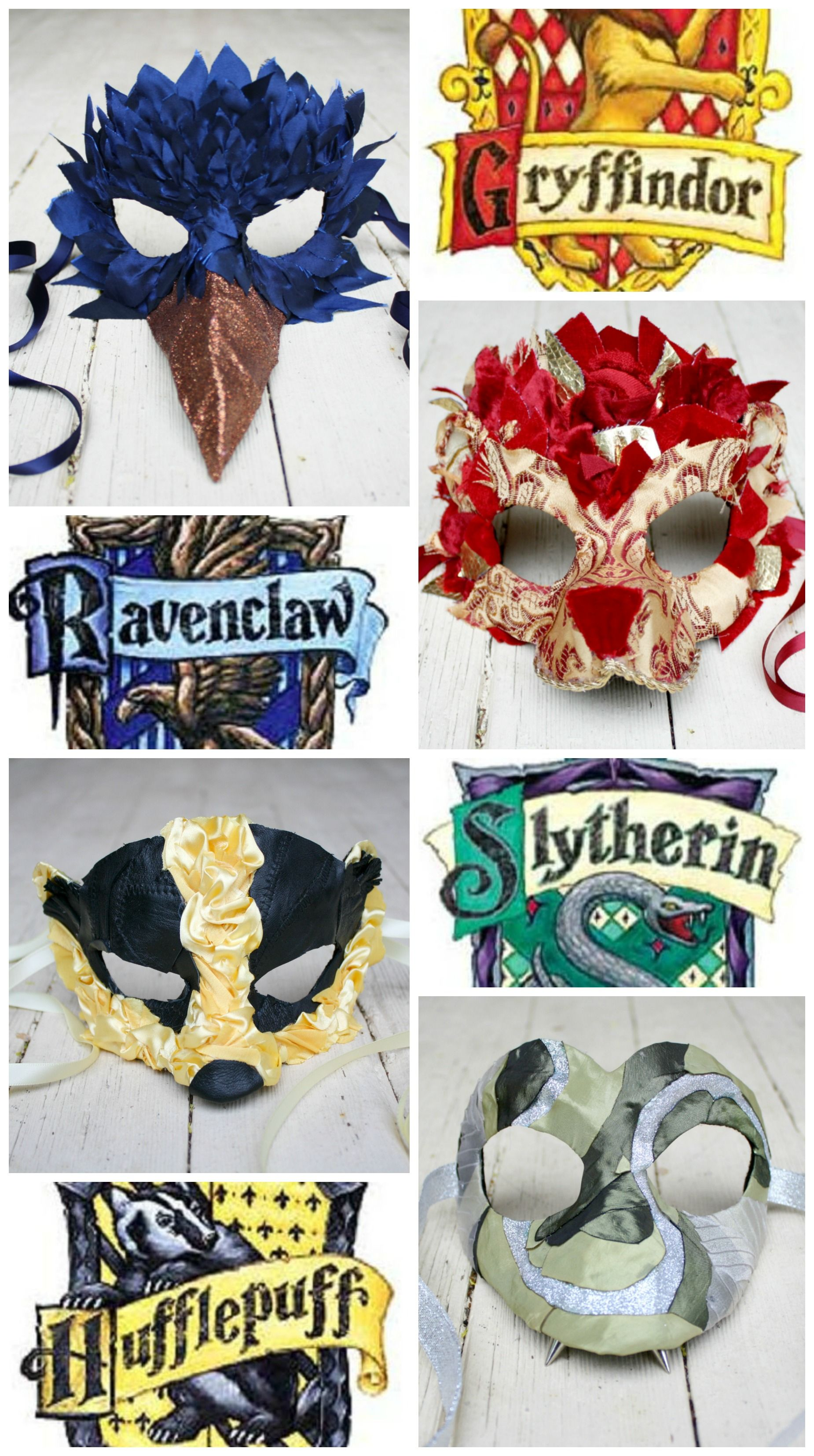 The Four Hogwarts Houses Revisited ~ One of a kind masquerade ball masks inspired by Harry Potter and hand-created by mask artist Amanda Carroll (ArtisanMaskers) to benefit the Weber-Morgan Children's Justice Center.  https://www.etsy.com/shop/artisanmaskers