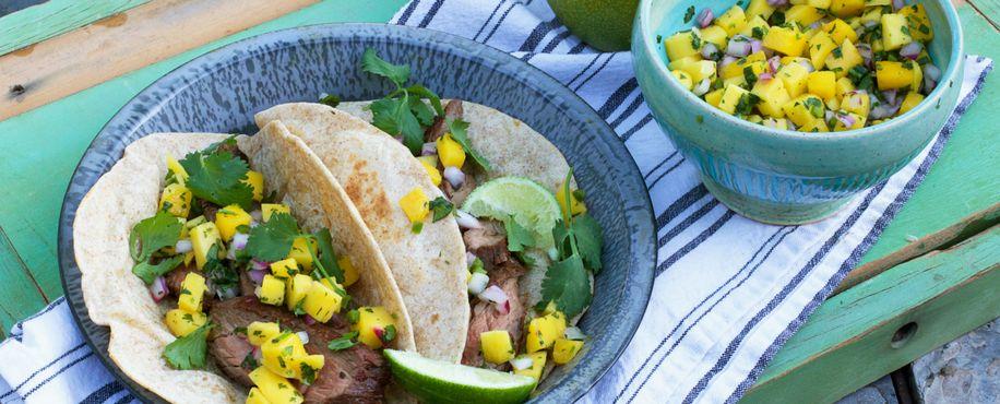Carne Asada Tacos with Mango Salsa #asadatacos