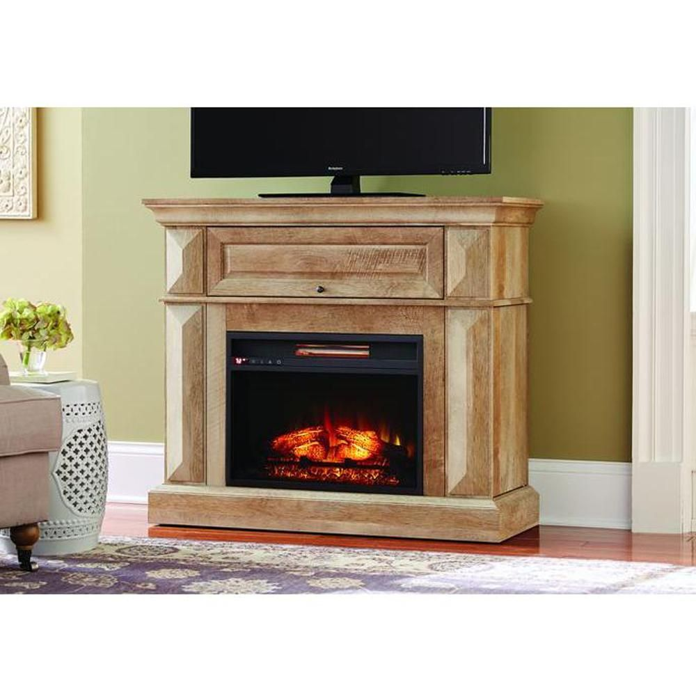 Home Decorators Collection Coleridge 42 In Mantel Console Infrared Electric Fireplace In Natu Fireplace Tv Stand Electric Fireplace Home Decorators Collection