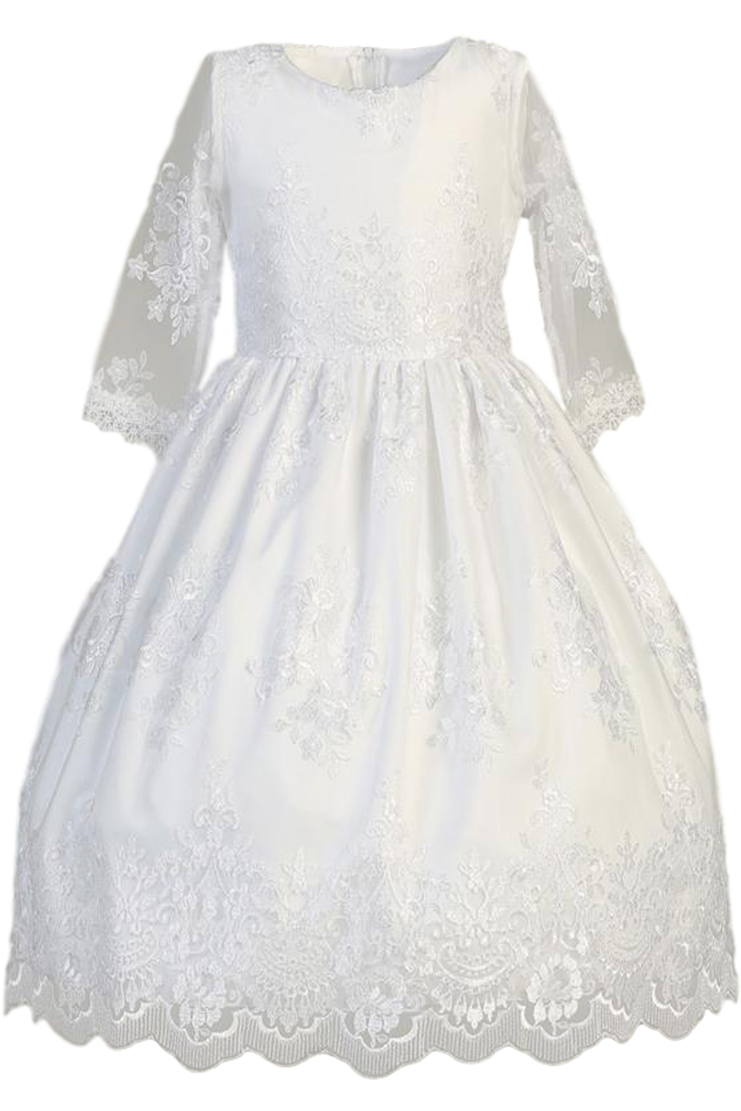 c746789e88b Floral Damask Lace Girls Communion Dress w. Sheer 3 4 Sleeves 6-12