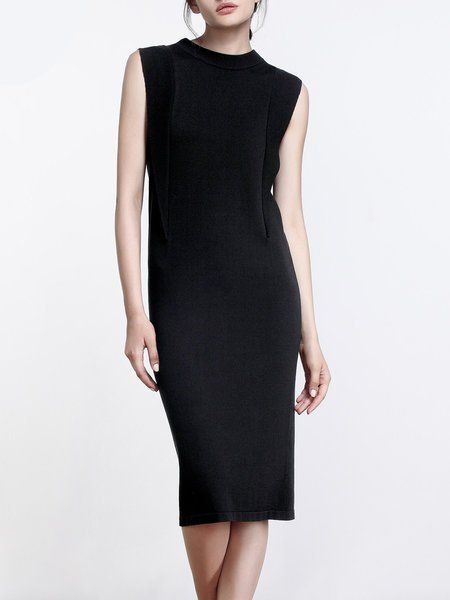 21a8734e0cc5c Shop Midi Dresses - Solid Simple Sleeveless Knitted Midi Dress online.  Discover unique designers fashion