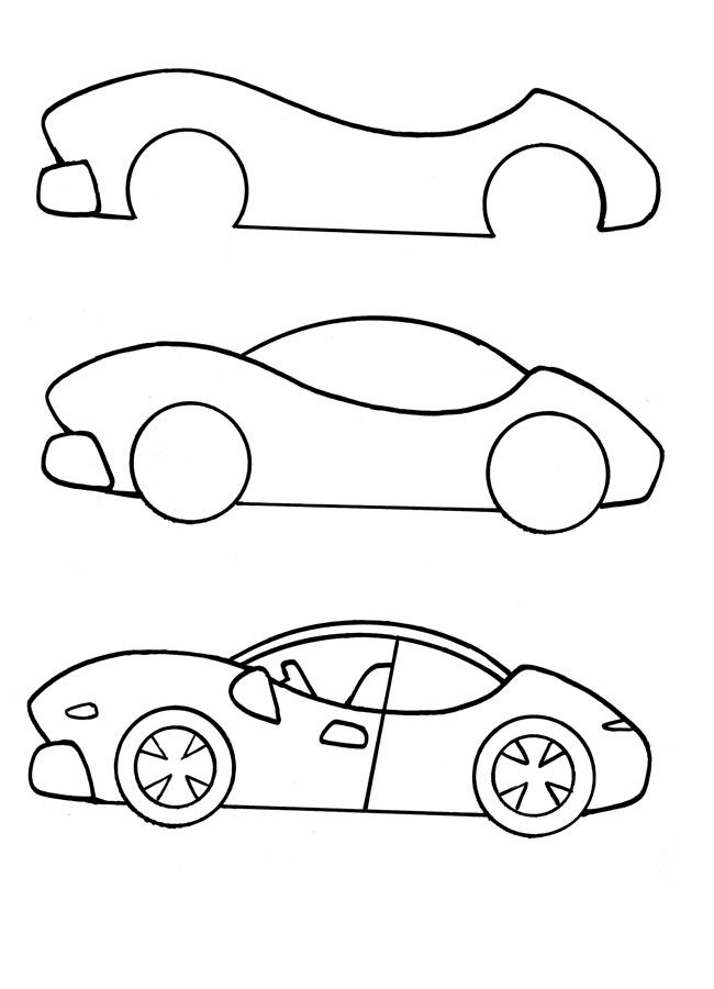 auto de carrera paso a paso | tutoriales | draw, easy drawings, painting