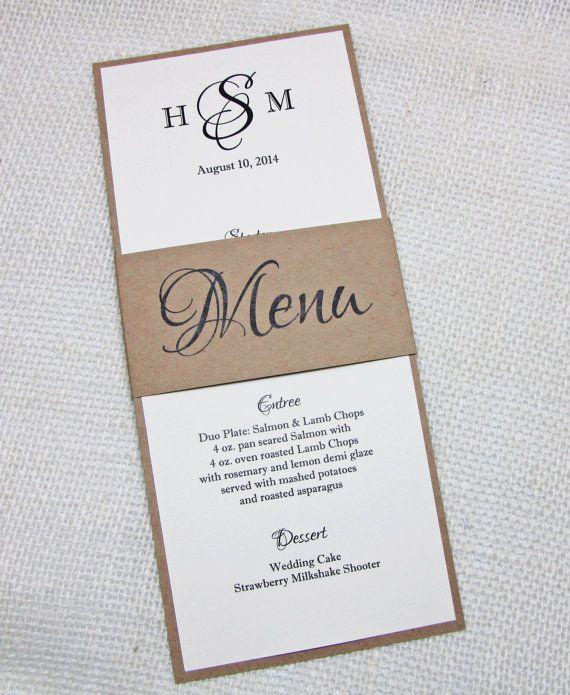 Elegant Rustic Wedding Menu - Simple, Rustic Wedding Reception - dinner menu