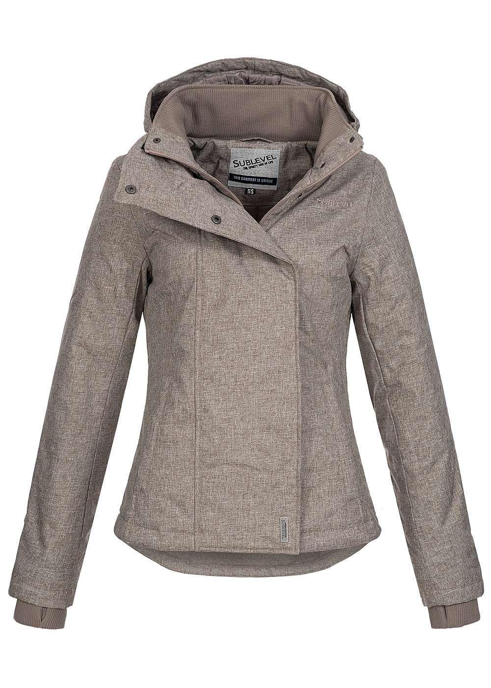 c170416f94699e Eight2Nine Damen Winter Jacke abnehmb Kapuze 2 Taschen by Sublevel braun  melange - 77onlineshop