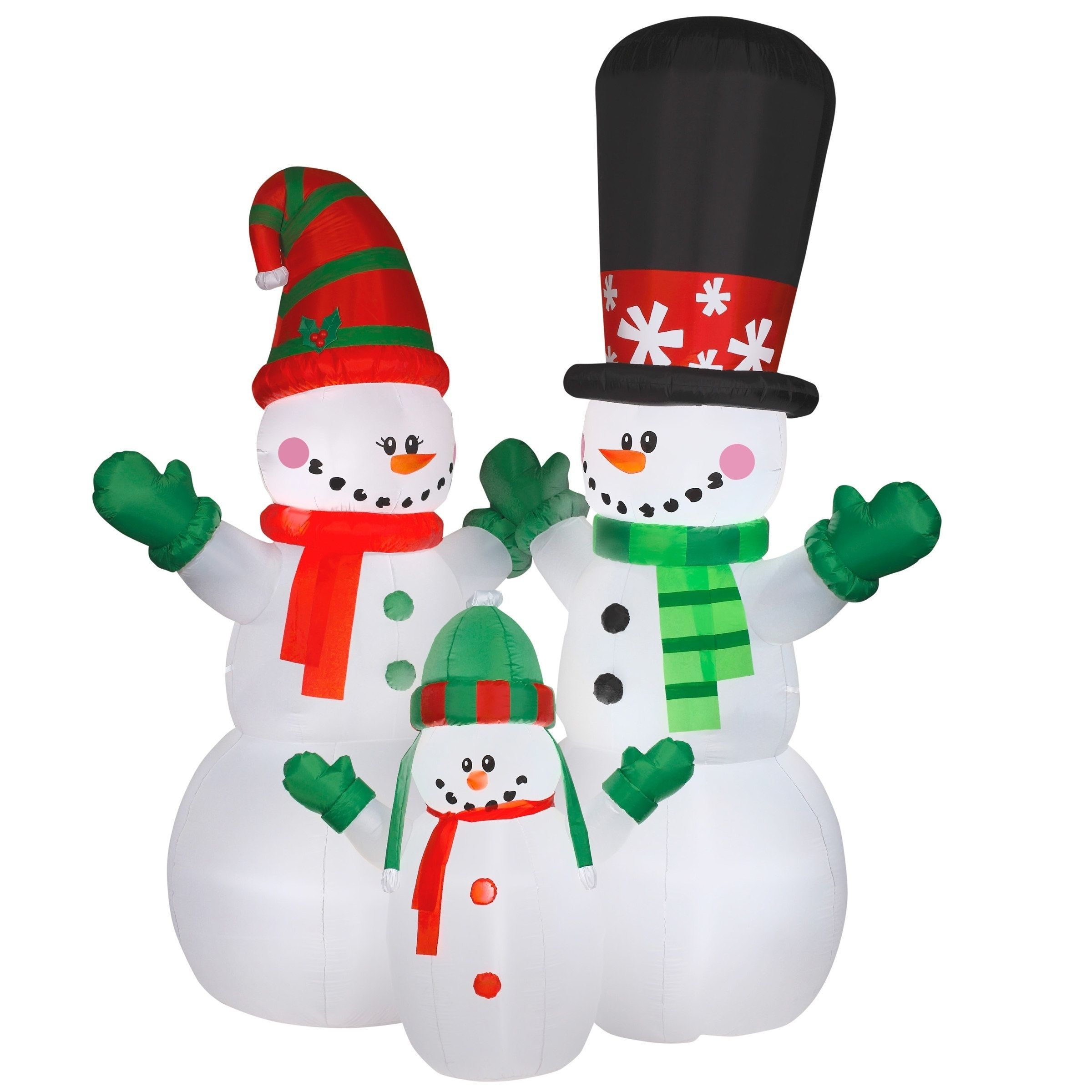 12 ft. Inflatable Snowman Family, White (Polyester) | Snowman ...