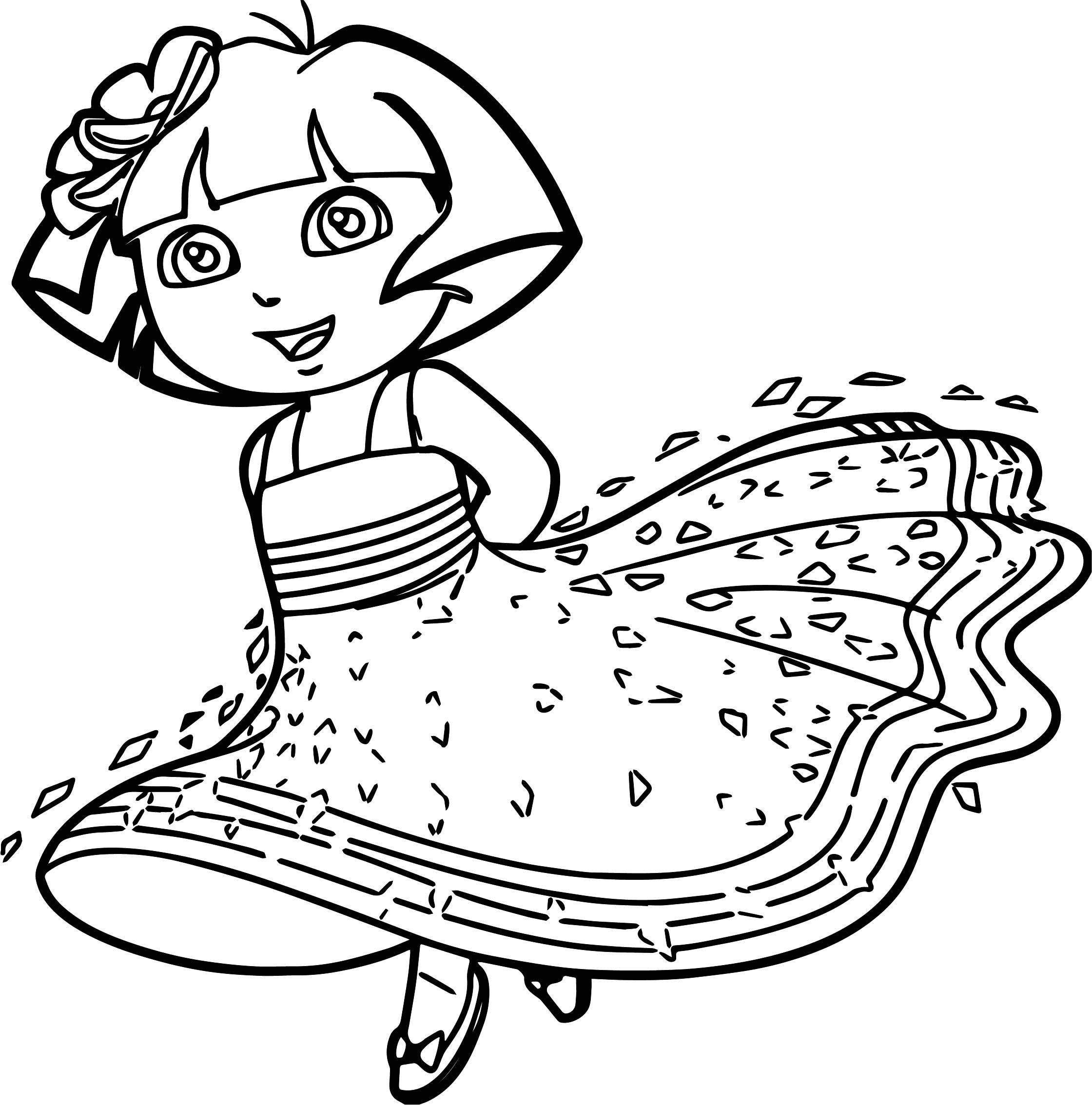 Princess Dora Cartoon Coloring Page | Cartoon