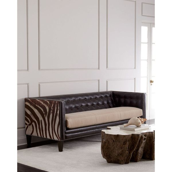Massoud Geronimo Leather Sofa ($6,099) ❤ Liked On Polyvore Featuring Home,  Furniture,