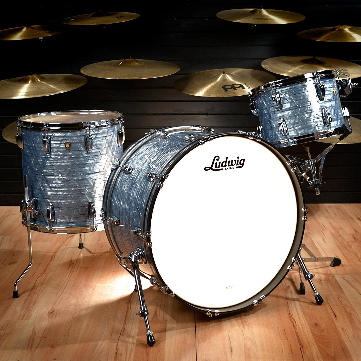 Ludwig 13 16 24 Classic Maple Pro Beat Kit Sky Blue Pearl Acoustic     Ludwig 13 16 24 Classic Maple Pro Beat Kit Sky Blue Pearl Acoustic Drum