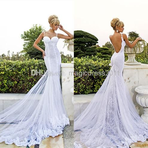 New 2014 Dimitrius Dalia Inspired White Lace Bare Mermaid Wedding Dresses | Buy Wholesale On Line Direct from China