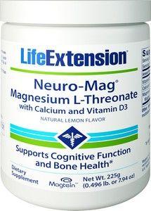 Life Extension NEURO-MAG MAGNESIUM THERONATE POWDER W//CALCIUM & VITAMIN D
