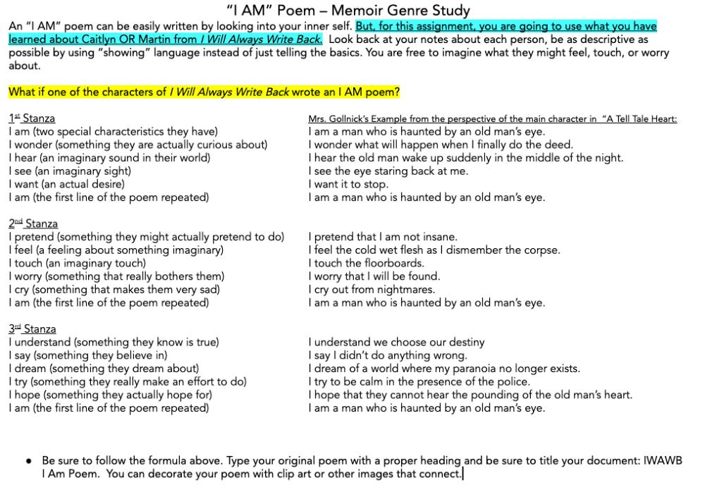 I Am Poem From I Will Always Write Back Formative Assessment I Am Poem Genre Study Formative Assessment