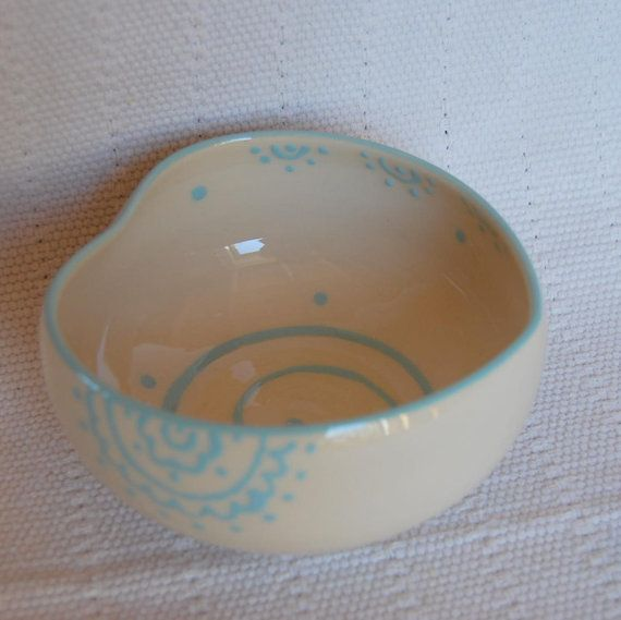 Handmade heart shaped bowl, light blue decoration by PotsbyNives