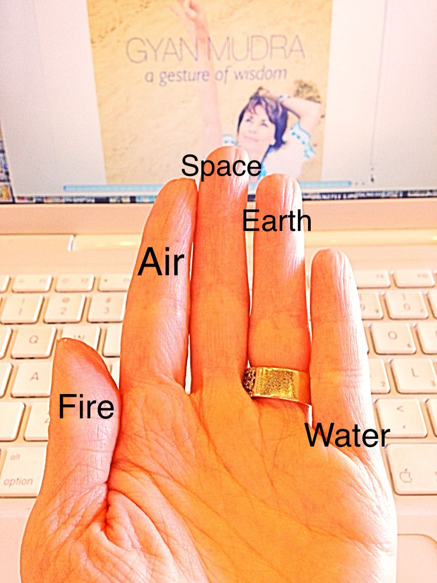 Each finger represents an element in nature. Put them together in different combinations/mudras and ignite your inner fire while appearing graceful and feeling connected to all that surrounds you. Allison Egan Datwani/Glamorous Yogini
