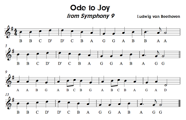 Image result for ode to joy recorder notes with letters | violin