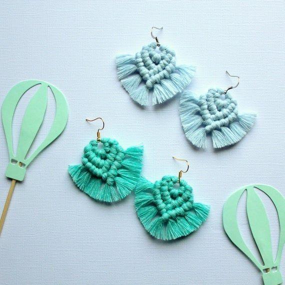 Good Pics Macrame earrings turquoise Tips Boho macrame earrings Hypoallergenic earrings Statement earrings Turquoise earrings Handmade ea