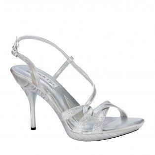 fortuna286 women glittery strappy high heels  silver