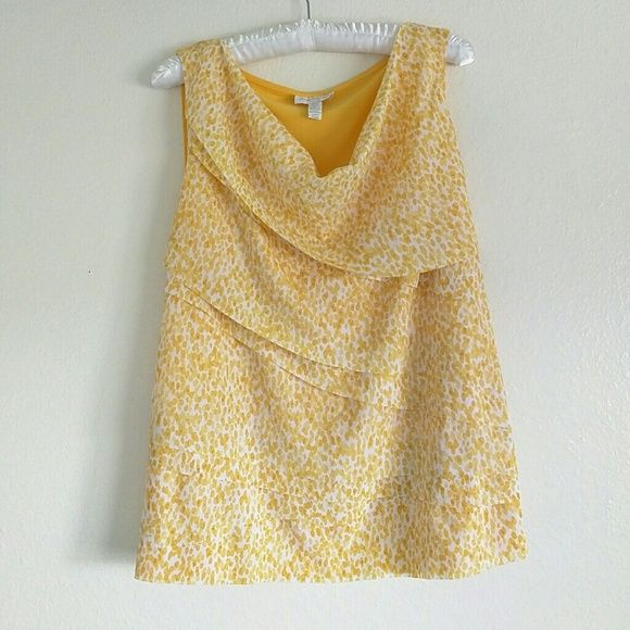 Yellow Spotted Tank Summer time!! This tank top has a cowl neckline. The front of the top has yellow dots and ruffles. Back of the top is solid yellow. Woven: 100% polyester  Knit: 96% rayon and 4% spandex  Lining: 100% polyester Charter Club Tops