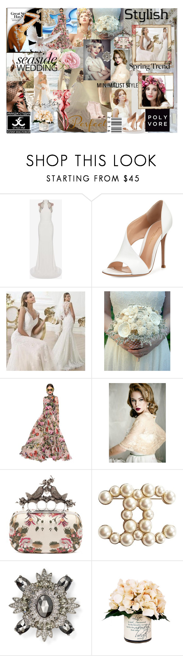"""make wedding style by Yuliya Maslova & Image-studio StyleYM"" by yuliaexe ❤ liked on Polyvore featuring Alexander McQueen, Gianvito Rossi, UGG Australia, Beautiful Wedding, Dolce&Gabbana, Noa Vider, Chanel, Kenneth Jay Lane and Creative Displays"