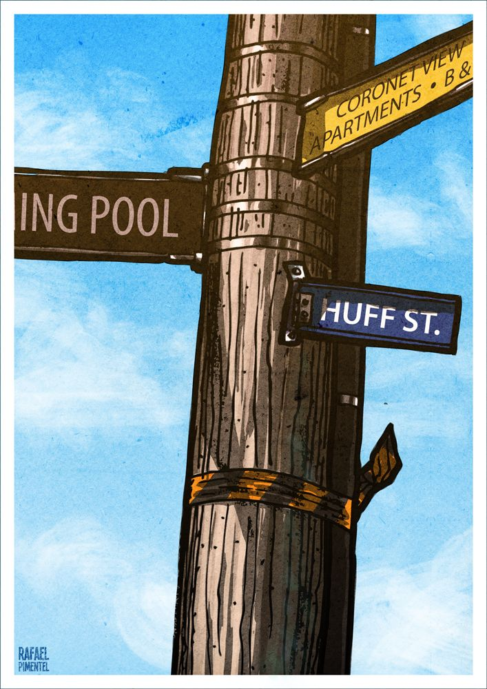 Huff St, Queenstown, New Zealand - Rafael T. Pimentel #illustration #ilustracao #rafaelpimentel #new_zealand #new #zealand #kiwi #huff #queentown #aotearoa