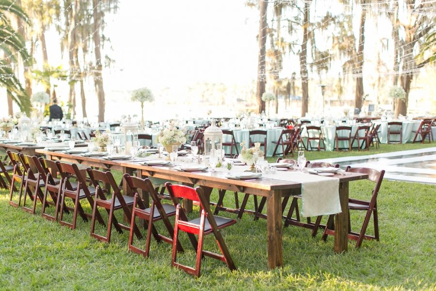 Farm Tables And Gold Glittery Outdoor Wedding Reception Amy And