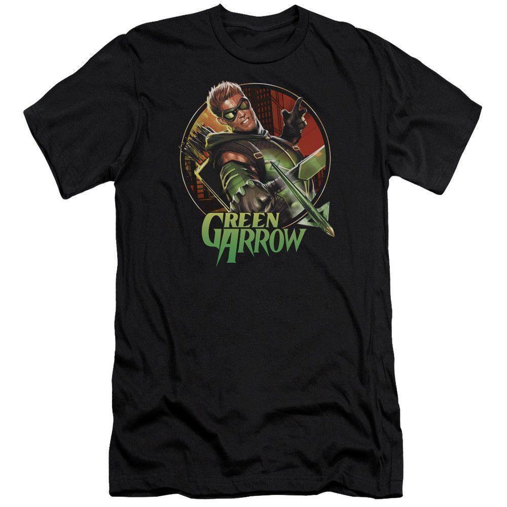 Green Arrow Sunset Archer on Black T-Shirt