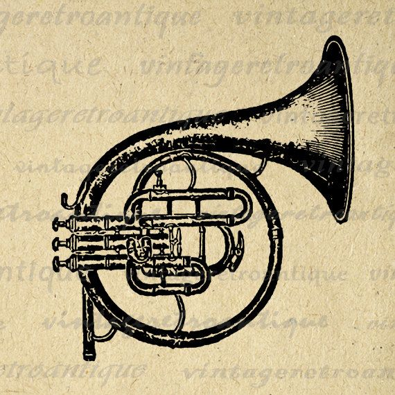 Printable Digital French Horn Graphic Music Instrument Image ...