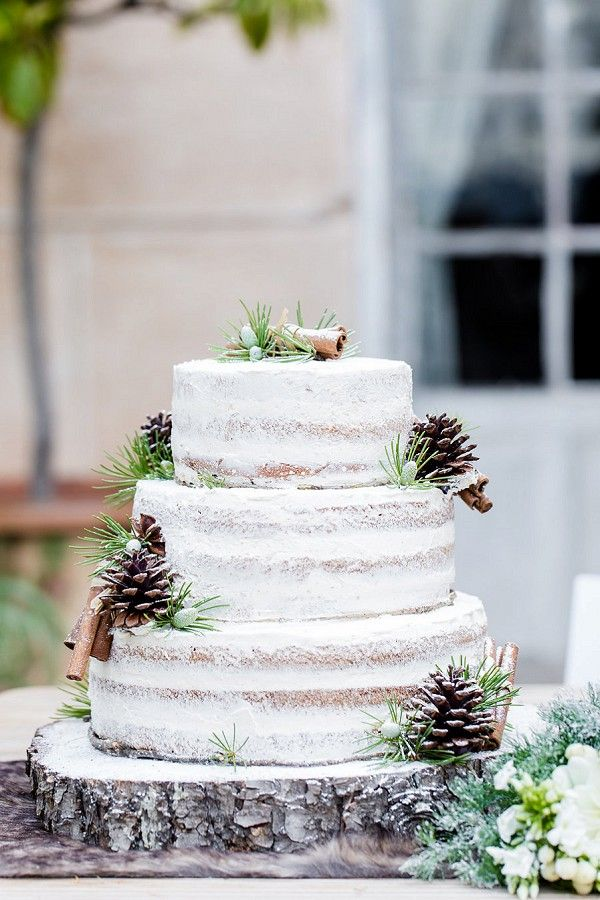Winter Wonderland Wedding Cake With Frosted Pine Cones