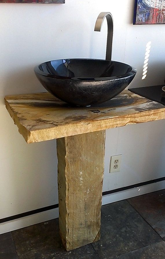 Metallic Black Glass Vessel Sink Beige Natural River Cobble Pedestal And Rustic Stone Counter