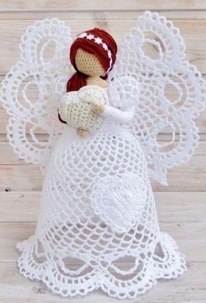 ангел игрушка вязаный крючком схема