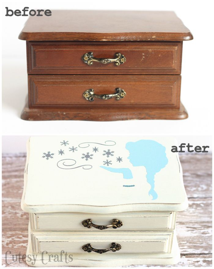 Thrifted jewelry box makeover frozen jewelry box frozen for Old jewelry box makeover