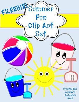 Freebie Summer Fun Clip Art Set Commercial Use Allowed Clip Art Art Set Summer Fun