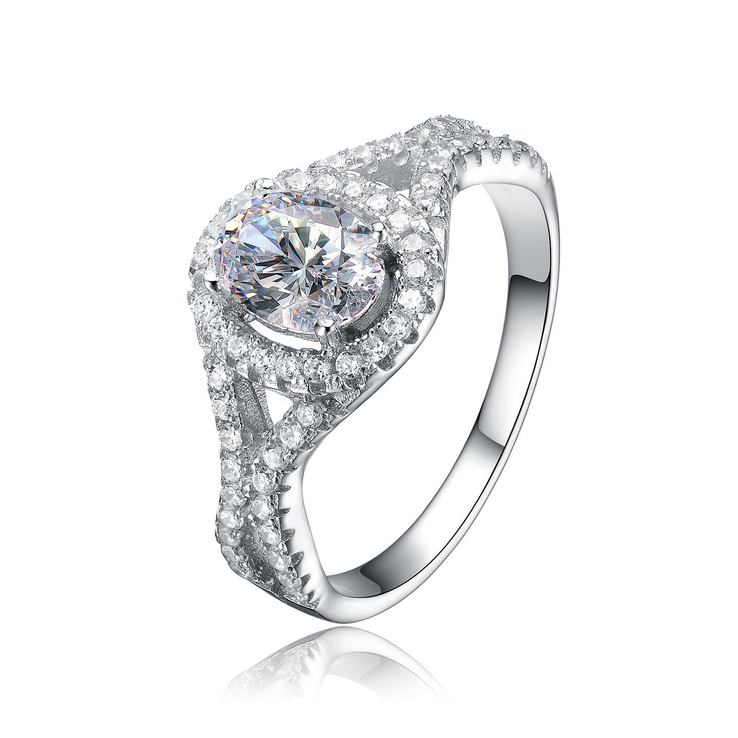 Collette Z Sterling Silver Mounted Cubic Zirconia Solitaire with Halo Ring (Size 8), Women's, White
