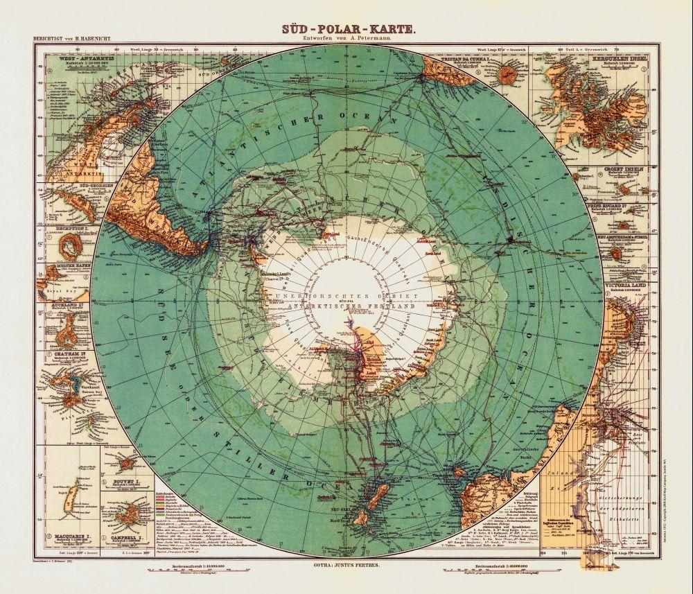 Antique Map: Antique Map Of Antarctica 1912