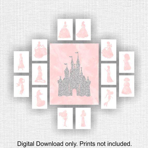 Delightful Disney Wall Art Paillettes Argent Château Et Princesse Pink