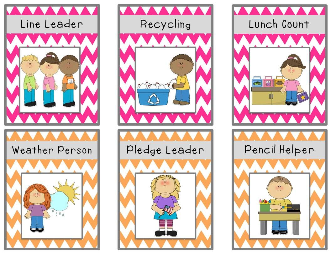 Bright chevron job chart cards freebie also classroom ideas rh pinterest