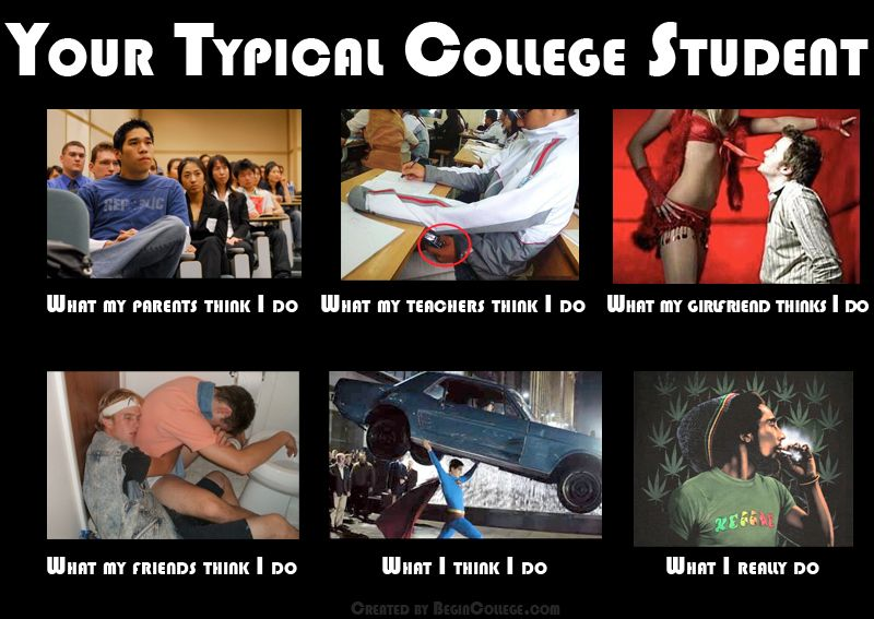 Your Typical College Student Meme What Parents Teachers Girlfriends Friends And Themselves Think They Do College Memes Memes Chicken And Shrimp Recipes
