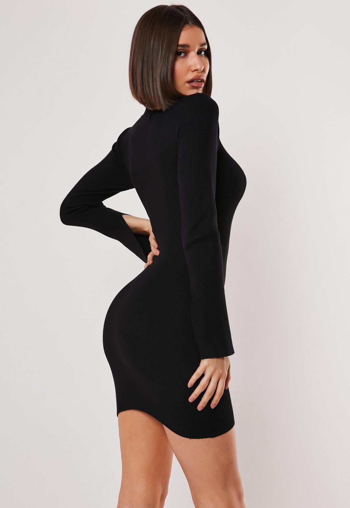 Black Long Sleeve Ribbed Sweater Dress Ribbed Sweater Dress Hot Pink Bodycon Dress Sweater Dress [ 1739 x 1200 Pixel ]