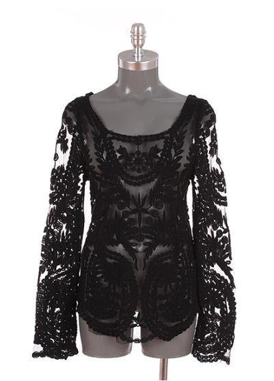 Sheer Crochet Top - Black