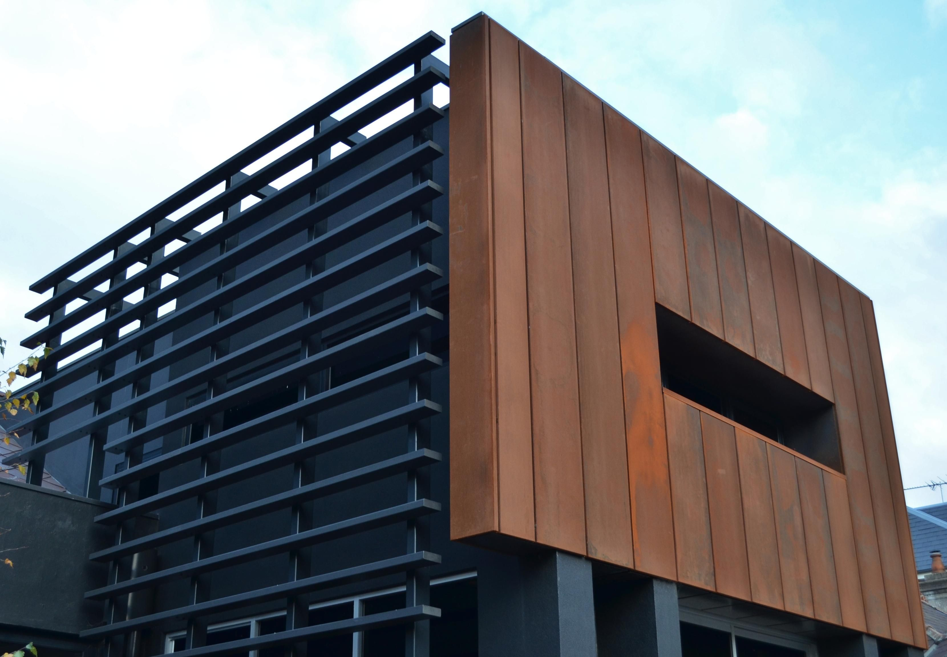 Cassette panel copper design cladding architecture for Exterior framing