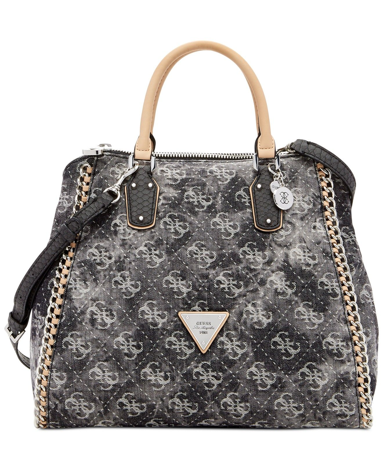 GUESS Amelle Denim Signature Retro Medium Satchel - All Handbags - Handbags    Accessories - Macy s 3cd9165585691