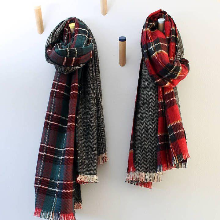 5b36b7b4d5302 Studio Hop Tartan Herringbone Reversible Blanket Scarf - ShopStyle Scarves  & Wraps